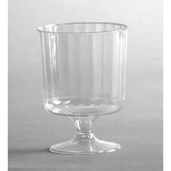 Classic Crystal Plastic Wine Glasses on Pedestals, 5 oz., Clear, Fluted, 10/Pack WNACCW5240