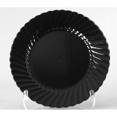 Classicware Plastic Plates, 9 Inches, Black, Round, 25/Pack WNACW9180BK
