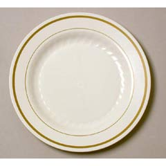 Masterpiece Plastic Plates, 6 in., Ivory w/Gold Accents, Round, 125/Pack WNAMP6IPREM