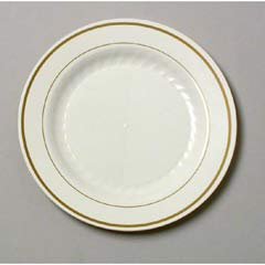Masterpiece Plastic Plates, 7 1/2 in, Ivory w/Gold Accents, Round, 10/Pack WNAMP75IPREM