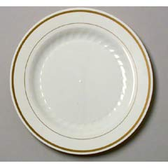 Masterpiece Plastic Plates, 9 in., Ivory w/Gold Accents, Round, 10/Pack WNAMP9IPREM