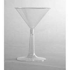 Comet Plastic Martini Glasses, 6 oz., Clear, Two-Piece Construction, 12/Pack WNAMT696