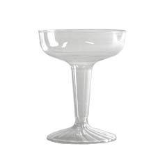 Comet Plastic Champagne Glasses, 4 oz., Clear, Two-Piece Construction, 25/Pack WNASW4