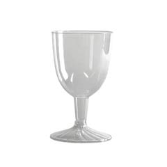 Comet Plastic Wine Glasses, 6 oz., Clear, Two-Piece Construction, 25/Pack WNASW5