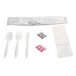 Cutlery Kit, Plastic Fork, Spoon, Knife, Salt, Pepper, Napkin, White BWK6KITMW