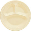 Foam Plastic Plates, 10 1/4 Inches, Honey, Round, 3 Compartments, 125/Pack DCC10CPHQ