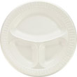 Foam Plastic Plates, 10 1/4 Inches, White, Round, 3 Compartments, 125/Pack DCC10CPWQ