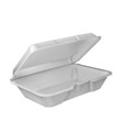Foam Container with Removable Hinged Lid, 1-Comp, 9-3/10x6-2/5x2-9/10, 100/Bag DCC205HT1