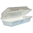 Foam Hot Dog Container with Hinged Lid, 7-1/10 x 3-4/5 x 2-3/10, White, 125/Bag DCC72HT1