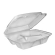 Small Foam Hinged Lid Carryout Container, 3-Compartment White, 8x7-1/2x2-3/10 DCC80HT3