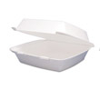 Hinged Food Container, Foam, 1-Compartment, 9-1/2 x 9-1/4 x 3 DCC95HT1