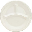 Foam Plastic Plates, 9 Inches, White, Round, 3 Compartments, 125/Pack DCC9CPWQ