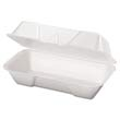 Foam Hoagie Hinged Container, Medium, 8-7/16 x 4-3/16 x 3-1/16, White, 125/Bag GNP21600