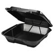 Foam Hinged Carryout Container, 1 Compartment, Black, 100/Bag GNPSN200-3L