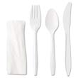 "Wrapped Cutlery Kit, 6 1/4"", Fork Knife Spoon Napkin, White GEN4KITMW"