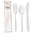 "Wrapped Cutlery Kit, 6 1/4"", Fork Knife Spoon Napkin Salt Pepper, White GEN6KITMW"