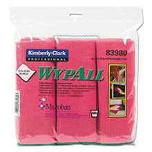 WYPALL Cloths with Microban, Microfiber, 15 3/4 x 15 3/4, Red, 6/Pack KCC83980