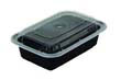 VERSAtainers 1-Comp Food Containers, Black/Clear - (150) 16oz PACNC8168B