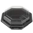 Octagon Hinged Carryout Container, Plastic, Black Base, Clear, 16 oz REY12096