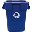 Brute Recycling Container, Square, Polyethylene, 40 gal, Blue RCP3536-73BLU