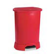 Step-On Oval Container, Red Polyethylene - 30 Gallon RCP6147RED