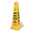 "Multilingual Safety Cone, ""CAUTION"", 12 1/4w x 12 1/4d x 36h, Yellow RCP6276YEL"