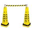 Portable Barricade System, Plastic, 12 1/4 x 12 1/4 x 39 3/4, Yellow RCP6287YEL