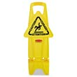 Stable Multi-Lingual Safety Sign, 13w x 13 1/4d x 26h, Yellow RCP9S09YEL