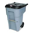 Roll-Out Heavy-Duty Waste Container, Square, Polyethylene, 65 gal, Gray RCP9W10-88GRA