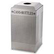 Rubbermaid [DCR24CSM] Silhouette Can/Bottle Recycling Receptacle, Square, Steel, 29 gal, Silver RCPDCR24CSM