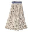 Universal Headband Mop Heads, Cotton, White, 24 oz, 1-in. Blue Headband RCPE138