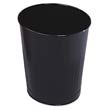 Fire-Safe Wastebasket, Round, Steel, 6 1/2 gal, Black RCPWB26BLA