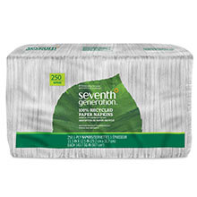 100% Recycled Single-Ply Luncheon Napkins, 1-Ply - (12) 250 Napkins SEV13713