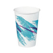 Jazz Hot Paper Cups, 16 oz., Polycoated, Jazz Design, White/Green/Purple, 50/Bag SCC316JZJ
