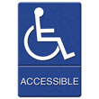 ADA Sign Wheelchair Accessible, Tactile Symbol/Braille, Plastic, 6x9, Blue/White UST4725