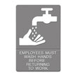 "ADA Sign, ""Employees Must Wash Hands"" Tactile Symbol/Braille, 6 x 9, Gray UST4726"