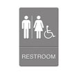 ADA Sign, Restroom/Wheelchair Accessible Tactile Symbol, Plastic, 6x9,Gray/White UST4811