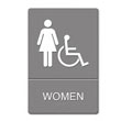 ADA Sign Women Restroom Wheelchair Accessible Symbol, Plastic, 6 x 9, Gray/White UST4814
