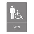 ADA Sign Men Restroom Wheelchair Accessible Symbol, Plastic, 6 x 9, Gray UST4815