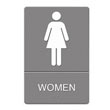 ADA Sign, Women's Restroom w/Tactile Graphic, Plastic, 6 x 9, Gray UST4816