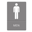 ADA Sign Men Restroom Symbol w/Tactile Graphic, Plastic, 6 x 9, Gray UST4817