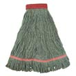 Looped-End Cotton/Rayon Wet Mop Head, Green - 12 Large Heads BWK403GN