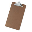"Hardboard Clipboard, 1-1/4"" Capacity, Holds 8-1/2w x 14h, Brown UVS40305"