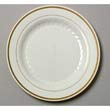 Masterpiece Plastic Plates, 10 1/4in, Ivory w/Gold Accents, Round, 10/Pack WNAMP10IPREM