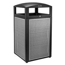 40-Gallon Outdoor Trash Container with Steel Panels ALP-471-40-SIL
