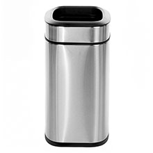 Alpine Industries 10 L / 2.6 Gal Stainless Steel Slim Open Trash Can, Brushed Stainless Steel ALP-470-10L