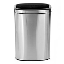 Alpine Industries 40 L / 10.5 Gal Gal Stainless Steel Slim Open Trash Can, Brushed Stainless Steel ALP-470-40L