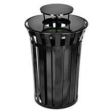 Alpine Industries Outdoor Metal Slatted Trash Receptacle with Rain Bonnet Lid - 38 Gallon Black ALP-479-38-1