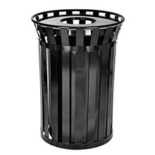 Alpine Industries Outdoor Metal Waste Receptacle - 38 Gallon Black ALP-479-38