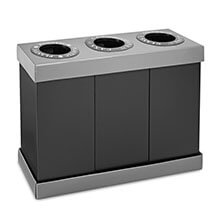 Three Bin 28 Gallon Recycling Center ALP-471-03-BLK